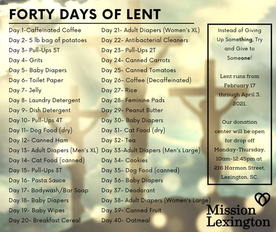 Mission Lexington Top 40 Needs Calendar