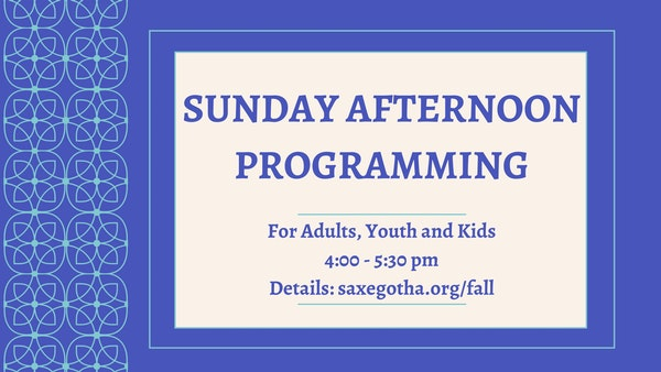 Sunday Afternoon Programming Fall 2021 915 21 Without Start Date